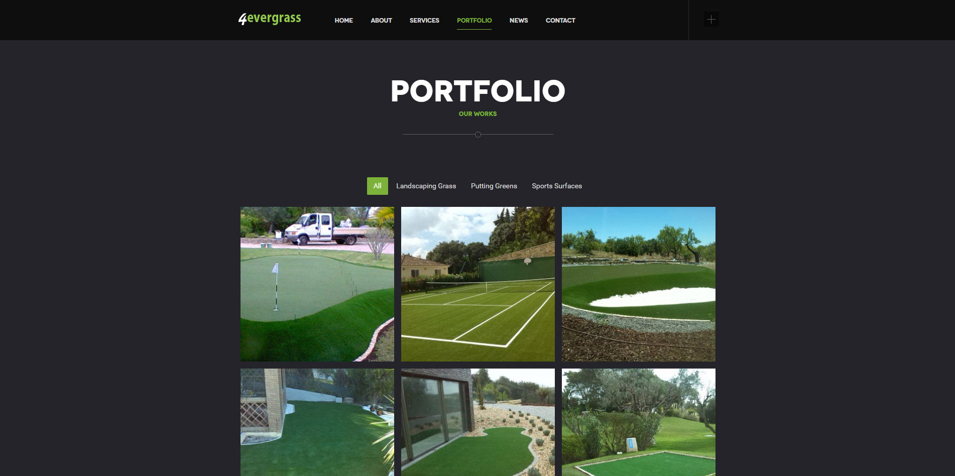 Responsive website design for 4evergrass company, based in Algarve, Portugal. Contact page responsive design.