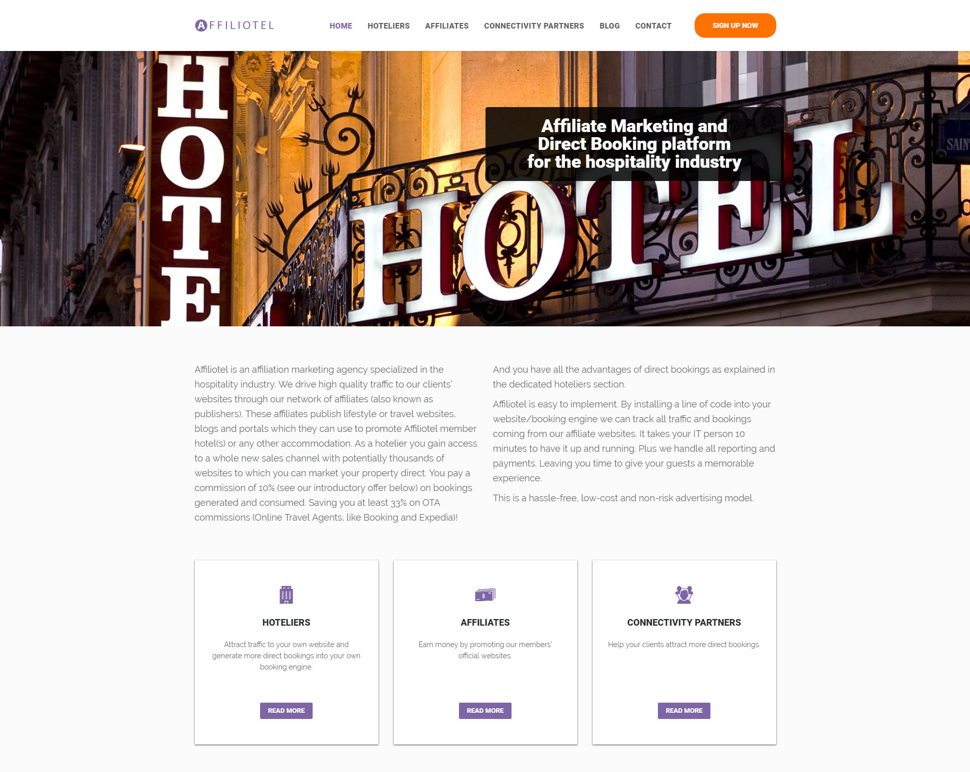 affiliotel one page website design