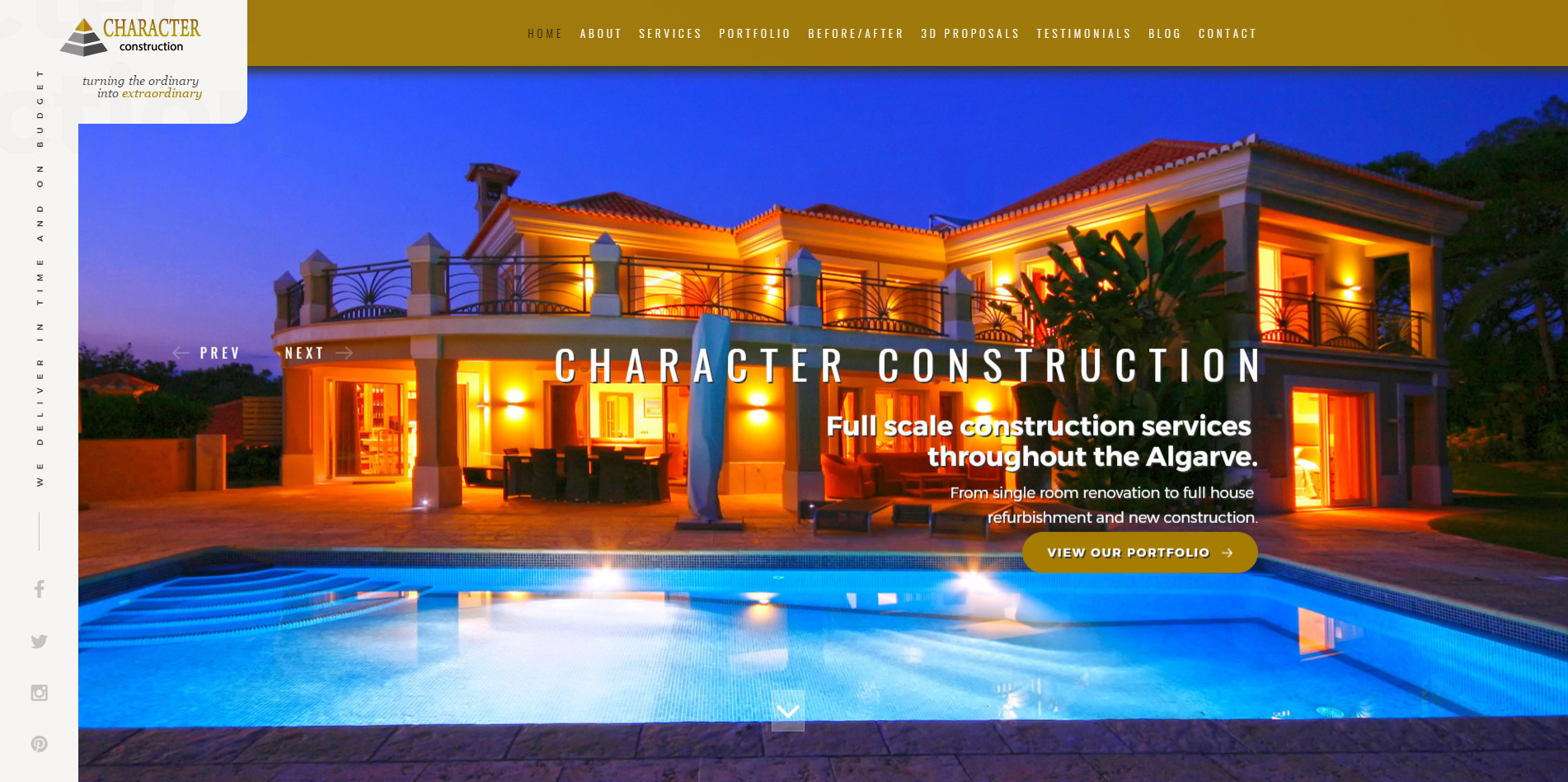 Home Page web design for Algarve located company