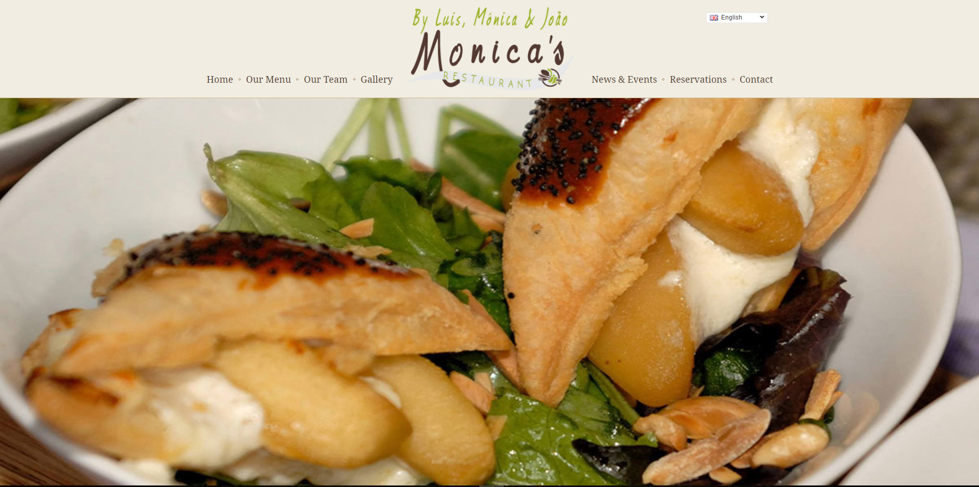 home page website design for restaurant located in the Algarve