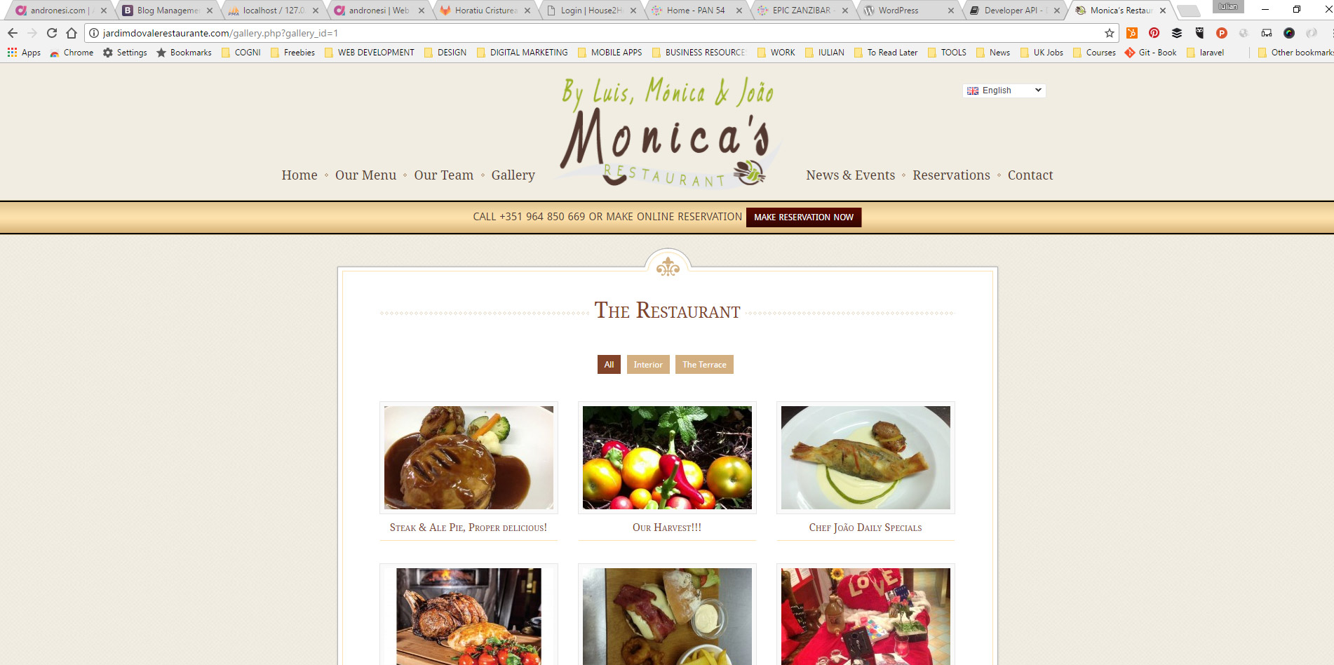menu page websitedesign for restaurant located in the Algarve