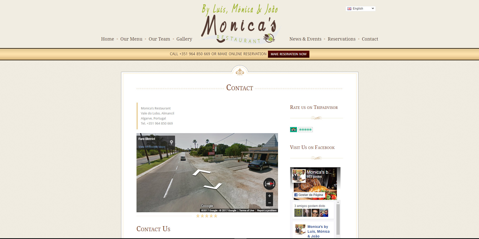 contact page website design for restaurant located in the Algarve