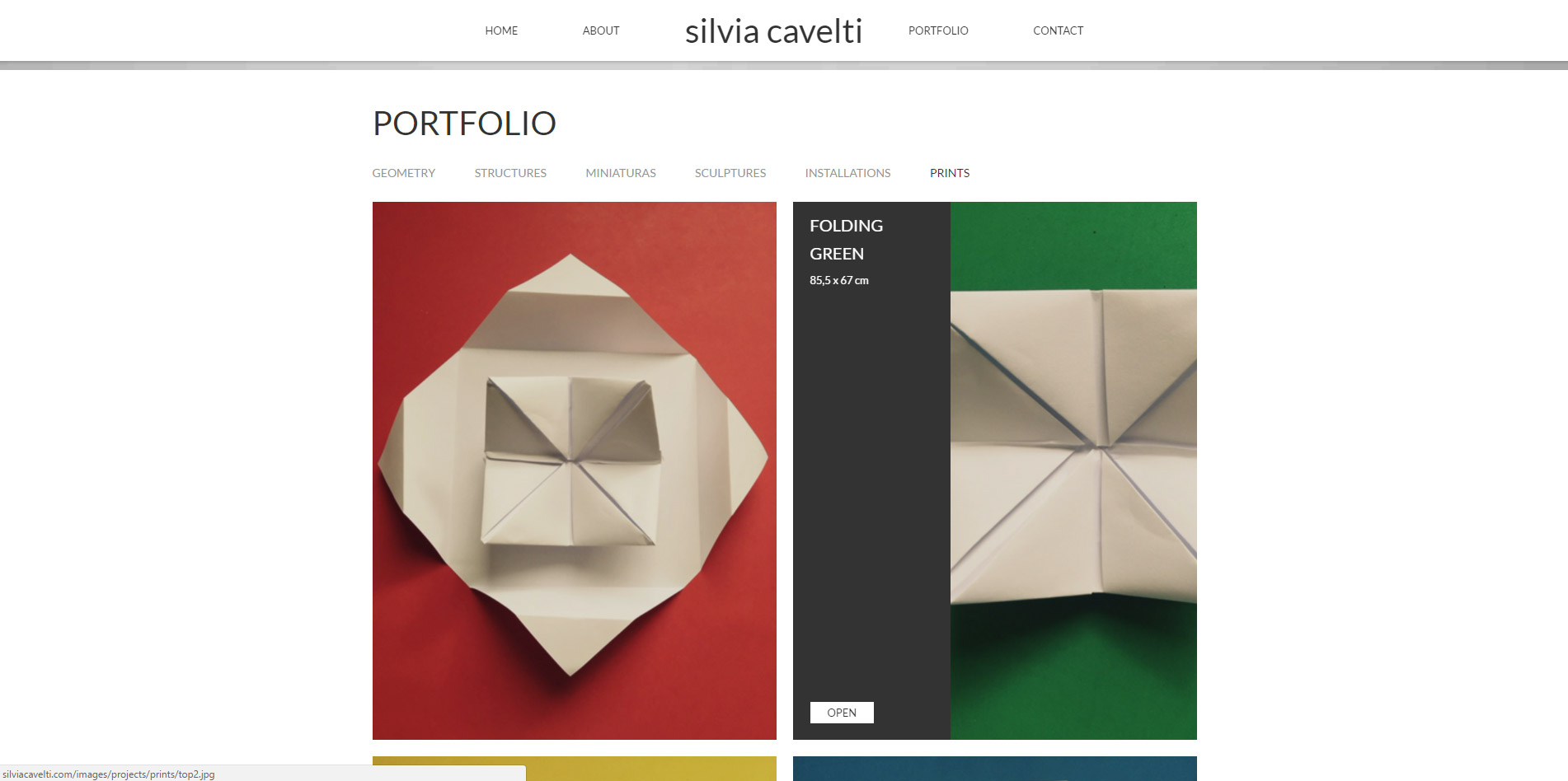 single page responsive web design for Algarve based artist Silvia Cavelti